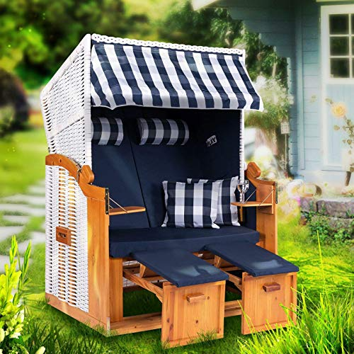 Möbelcreative Strandkorb Ostsee XXL Volllieger 2 Sitzer - 120 cm breit - weiß blau inklusive Schutzhülle, ideal für Garten und Terrasse