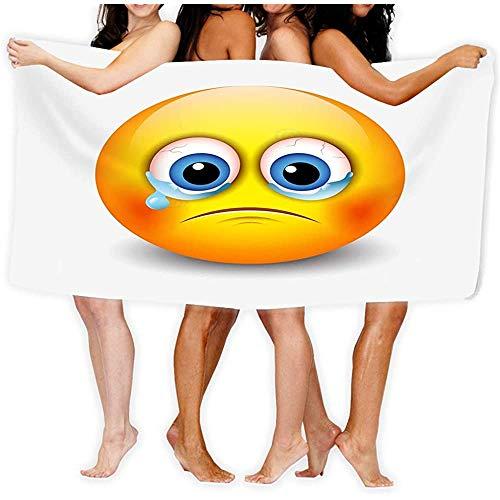 Toalla de Playa Suave Secado rápido Ligero para Adultos 31 X 51 Pulgadas Llorando Elementos de emoticonos tristes