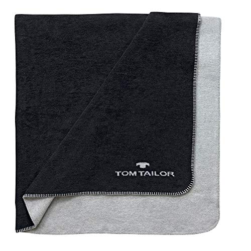 Tom Tailor Decke Noreen, schwarz, 150 x 200 cm, Kuscheldecke, Wohndecke, Schlafdecke, Wohnzimmer, Wendedecke, Wohnzimmerdecke, Tagesdecke
