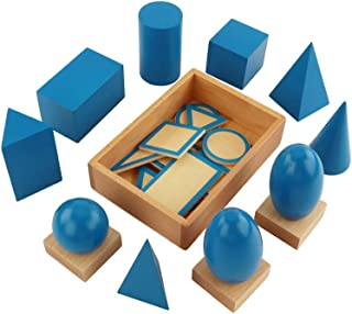 Wooden Geometric Solids,Three dimensional geometric shape recognition,3D Shapes Miniature Set Montessori teaching aids