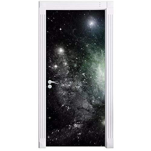 manbgt 3D Door Mural Galaxy Space Door Sticker, Wallpaper Wall Print Decal Wall Deco Wall Mural, Photo Self Adhesive Door Wrap-77X200Cm