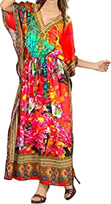 LA LEELA Women's Plus Size Caftan Night Gown Cover Up Dress US 14-22W Multi_V570