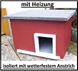 Lösche Holzbau Katzenhaus mit Heizung Schwedenhaus Katzenhütte Wurfkiste wetterfest isoliert beheizt