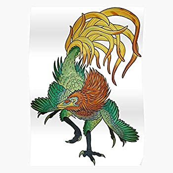 QUYNHHOZ Feathers Tattoo Dinosaur Maniraptor Velociraptor Chinese Japanese Oriental SImpressive Posters for Room Decoration Printed with The Latest Modern Technology on semi-Glossy Paper Background