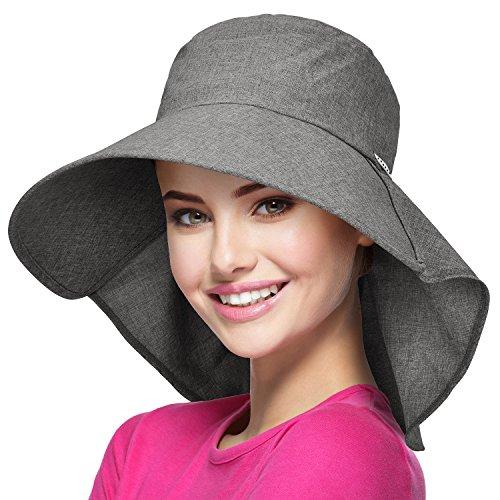 Solaris Sommer-Sonnenhut mit breiter Krempe für Frauen mit Halsabdeckung und verstellbarem Riemen Floppy Faltbarer UV-Schutz-Eimerhut zum Wandern Angeln Garten Safari Beach Grau