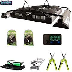 Premium Performance Package Includes- 1x Solar System 1100, 2x Solar System UVB Fixtures, 1x Mounting Brackets, 1x Solar System Controller, 2x Grow Crew Ratchet Hangers, 2x Growers House Trimming Scissors, 1x Phone Microscope, 1x GroVision LED Glasse...