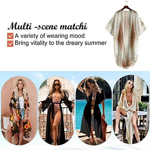 Vestido largo de verano para mujer, de gasa, blusa de playa, kimono, cárdigan, largo, con estampado floral marrón claro XL
