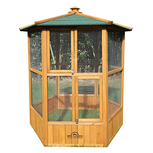 Pets Imperial Stunning Wooden Bird Aviary Hexagonal Design