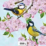 (558) Two Individual Paper Luncheon Decoupage Napkins - Cherry Blossoms Birds