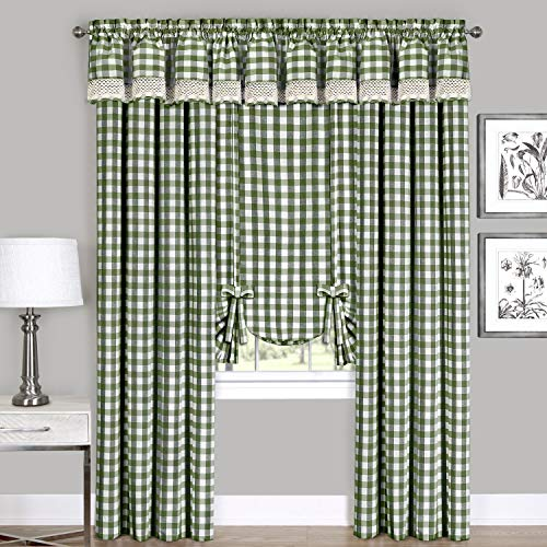 "Woven Trends Farmhouse Curtains Kitchen Décor, Buffalo Plaid Valance, Classic Country Plaid Gingham Checkered Design, Farmhouse Décor, Window Curtain Treatments (Sage, 42"" W x 84"" H Panel)"