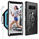 LOVPHONE Samsung Galaxy Note 8 Armband & Armour Case Set with QuickMount Sport Running Armband + Premium Protective Case with Kickstand for Galaxy Note 8,Soft Elastic Strap with Key Holder(Black)-L