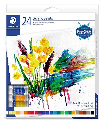 Staedtler Peinture acrylique de qualité professionnelle, Couleurs très pigmentées et faciles à mélanger, Étui carton avec 24 tubes de peinture aux couleurs vives et assorties, 8500 C24