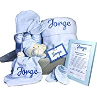 MabyBox Velvet DouDou   Canastilla Bebé Personalizada   Cesta Regalo Recién Nacido   Set Bebe Recién Nacido Personalizado (Azul)