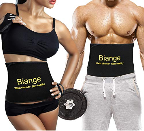 Biange Waist Trainer for Women Men Sweat Band Waist Belt, Stomach Wraps Sauna Belt, Neoprene Ab Belt - with Mesh Bag