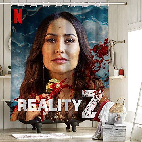 Reality Z - Cortina de ducha de poliéster con impresión 3D para decoración de Halloween, para baño, terror Zombie Gore Infección basada en el juego británico de terror Miniseries Dead de 182 x 2014 cm