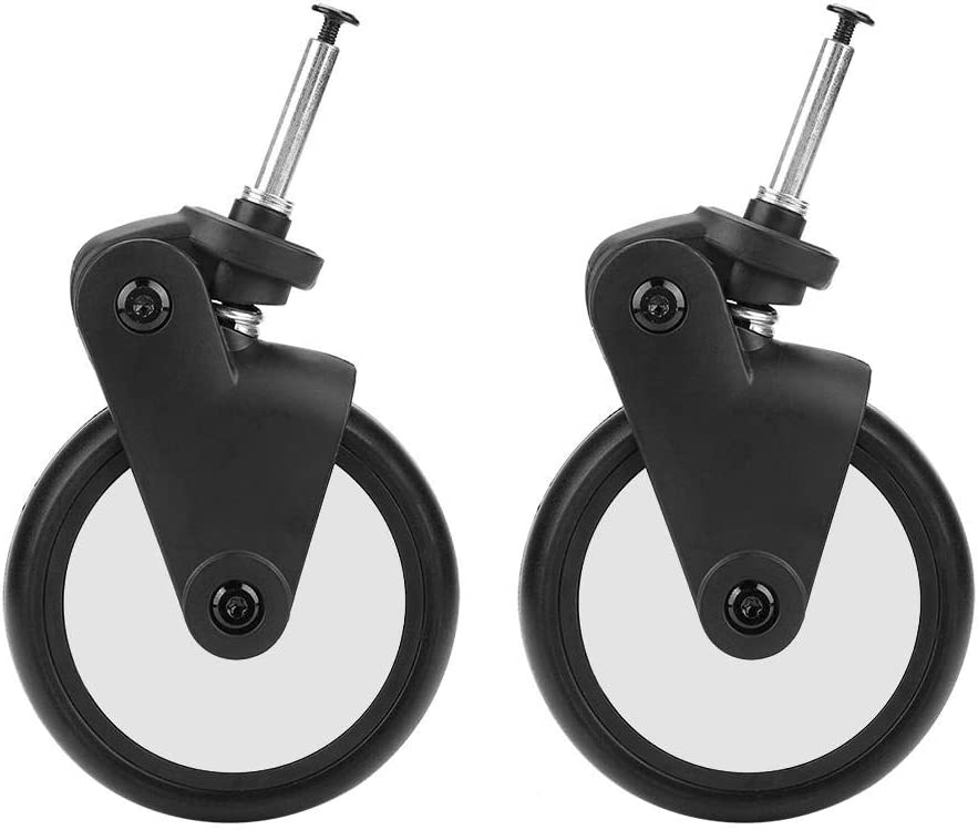Zerodis Front Wheel Set for Baby Jogger, Baby Strollers Rubber Wheels Accessories Yoya Vovo Wheel Kids Carriage with Tools Premier Strollers Replacement Caster Wheels Set (1 Pair Front)