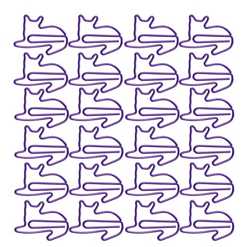 Kisangel 24Pcs Animal Cat Shaped Paper Clips Small Binder Clips Metal Binder Clips Photo Clips Decorative Paper Clips for School Home Office SuppliesPurple