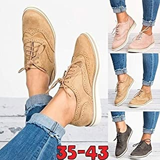 TIMWILL Fashion Women's Shoes Lace Up Brogue Perforated Oxfords Shoes British Style Casual Shoes Plus Size