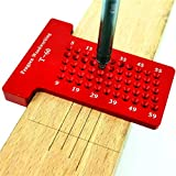 Mayyou Precision Woodworking Tools, Hole Measuring Ruler, Hole Positioning Metric Measuring Ruler Aluminium Alloy Writer Ruler Carpentry Tool