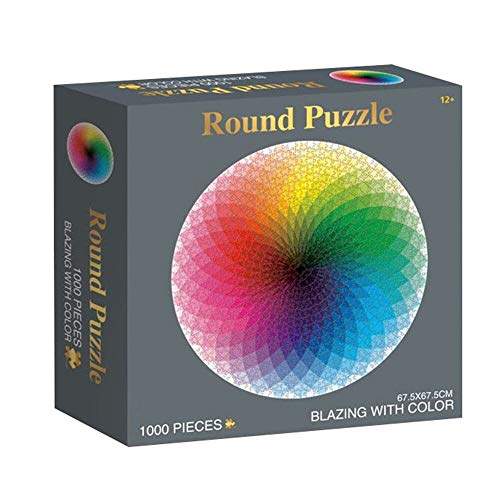 Jigsaw Puzzle for Adults Kids 1000 Pieces Large Round Gradient Color Rainbow Puzzle Educational Game