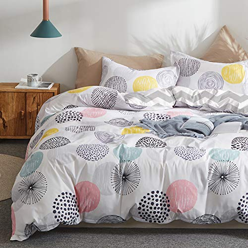 Uozzi Bedding 3 Piece Duvet Cover Set King (1 Duvet Cover + 2 Pillow Shams) with Colorful Dots, 800 - TC Comforter Cover with Zipper Closure, 4 Corner Ties - Pink Gray Yellow Circles for Adult Kids