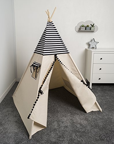 cozydots Children Indian Teepee Tent Wigwam Kids Playhouse from made in UE Black and White