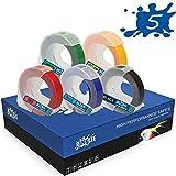 RINKLEE Bianco su Nero/Rosso/Blu/Verde/Giallo 3D Nastro per Etichette a Rilievo Compatibile con DYMO Etichettatrici a Rilievo Omega e Junior   9mm x 3m   5 Cassette