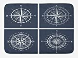 FTTUTY Compass Bath Mat, Set of White Compasses with Navy Blue Background Navigation Sailing Themed...