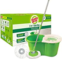 Scotch-Brite 2-in-1 Bucket Spin Mop (Green, 2 Refills), 4 Pcs