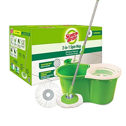 Scotch-Brite 2-in-1 Bucket Spin Mop (Green, 2 Refills),...