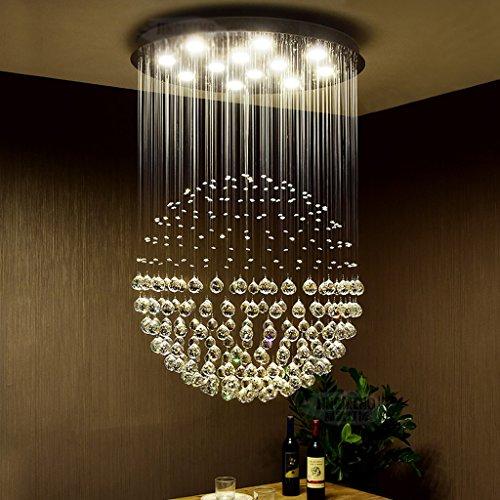 Lustre en Cristal Rond Conduit Moderne Simple Chaleureux escalier Double Chambre à Coucher Salon Restaurant lustres (Taille : 30 * 50cm (3 Heads))