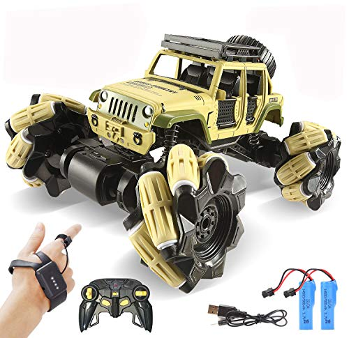 LOOZIX Remote Control Car, 1:16 Metal Drift RC Cars 360° Rotating 4WD 2.4Ghz Gesture Sensor Control Monster Truck for Kids All Terrains Electric Crawler RC Vehicle Rechargeable Batteries for Teenagers