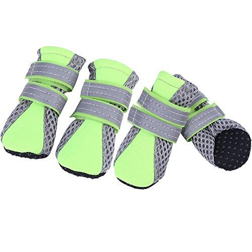 Zouminy Dog Pet ademende meshschoenen dagelijks met zachte, anti-slip zool welpbeschermingslaarzen voor kleine honden, Medium, groen