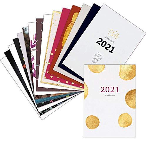 Carte de Voeux 2021 Classique — Lot de 16 Cartes Différentes ➽ Format Carte Postale (3 Formats Dispos) — Magnifique Carte de Voeux 2021 Classique