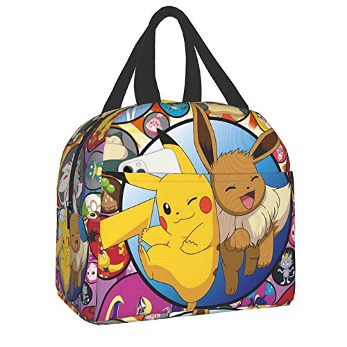 Pokemon Lunch Box Cute Bento Box Adult Lunch Box Reusable Insulated Lunch Bags for Women Men