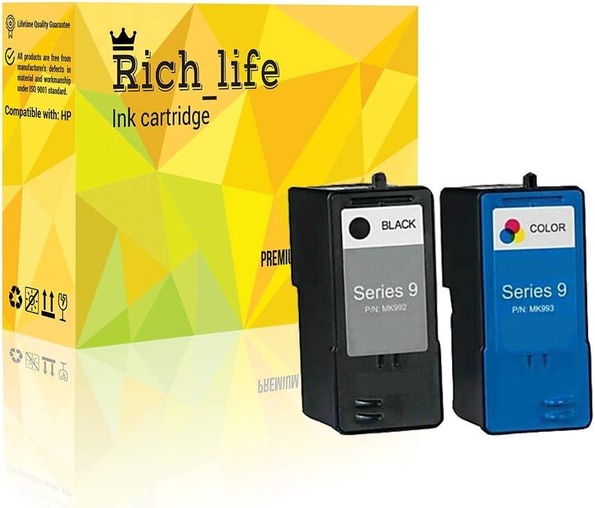 Rich_life Remanufactured Dell 9 Ink Cartridge Replacement for Dell MK992 MK993 V305w V305 926 Printer 2 Pack (1 Black, 1 Color)
