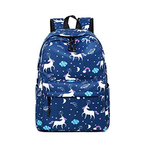 Rucksack Casual Daypacks Kinderrucksack Schultasche Reisetasche Laptop Backpack für Mädchen Studenten Damen (Einhorn-Dunkelblau)