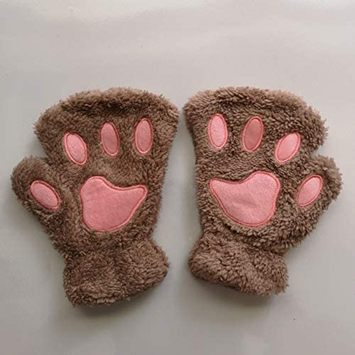 Hot Lovely Women Female Gloves Mitten Women Cat Claw Paw Mitten Plush Glove Costume Cute Winter Warm Half Finger Gloves - (Color: c, Gloves Size: One Size)