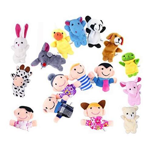 XLKJ 16 Pezzi Marionette Dita, Giocattoli Educativi Burattini a Dito Finger Puppets in Velluto con 10 Animali e 6 Famiglie