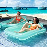 Fall Sales End Soon Float Joy Giant Inflatable Pool Float Lounger, Suntan Tub, Blow Up Tanning Pool Raft Tub with Pillow for Outdoor, Garden, Backyard Summer Water Pool Party, for Kids & Adults
