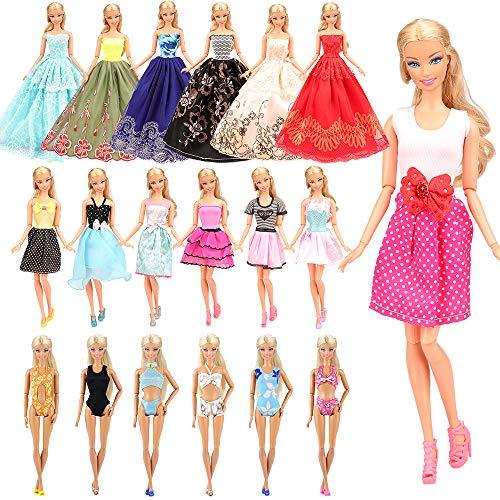 Miunana 16 Abiti per 28 - 30 CM / 11.5 Pollici Principessa Bambola = 10 Vestiti alla Moda + 3 Costumi da Bagno + 3 Vestiti da Sposa Principessa