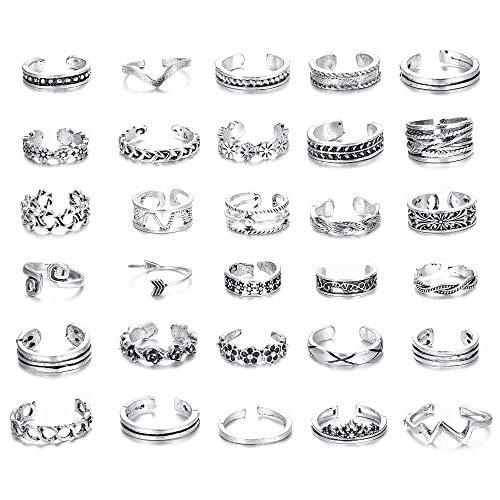 Milacolato 6-18Pcs Zehenringe für Frauen Mädchen Einstellbare Open Toe Ring Geschenke Schmuck-Set