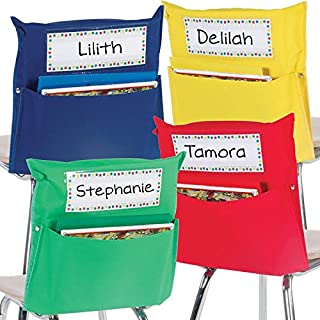 Really Good Stuff Store More Grouping Chair Pockets – Six Bright Rainbow Colors – Pocket Chair Organizer Keeps Students Organized and Classrooms Neat (Set of 32)