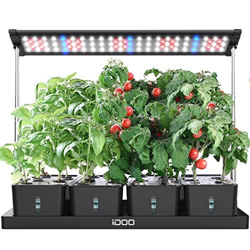 iDOO Kit de Jardinería Herbal de Interiores con luz de cultivo LED, 20 Vainas, Sembradora de Cultivo Interior para Hierbas con Temporizador, 4 Tanques de Agua Desmontables, Altura Ajustable, I-D-01