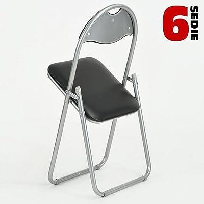 BAKAJI Set 6 Pezzi Sedie Imbottite Pieghevoli Salvaspazio Colore Nero Struttura Silver Sedia Metal