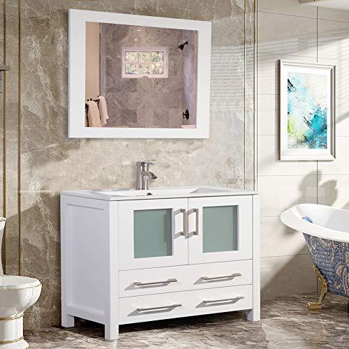 Vanity Art 36 Inch Single Sink Modern Bathroom Vanity Compact Set 1 Shelf 2 Drawers Ceramic Top Bathroom Cabinet with Free Mirror VA3036-W