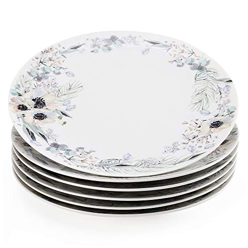 "Gsain 10.5"" Porcelain Dinner Plates Decorated with Beautiful Flower Patterns, Stackable Ceramic White Round Serving Plate for Salad, Dessert, Steak, Pasta (Set of 6)"
