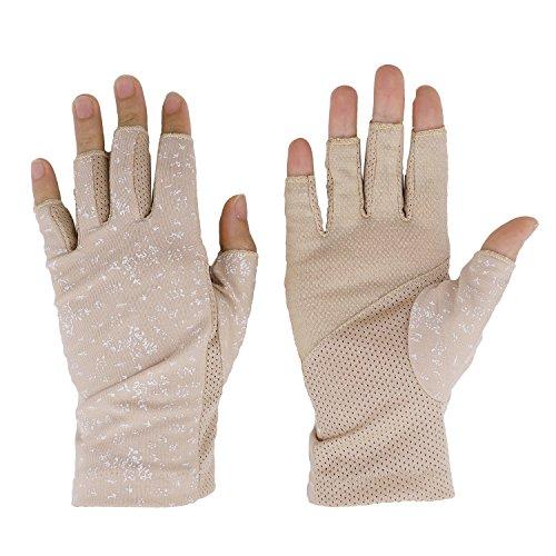 JIAHG Damen Sommer Halbfinger Handschuhe Baumwolle Fahrradhandschuhe Kurz Spitzenhandschuhe Anti-Rutsch, Einheitsgröße, Khaki