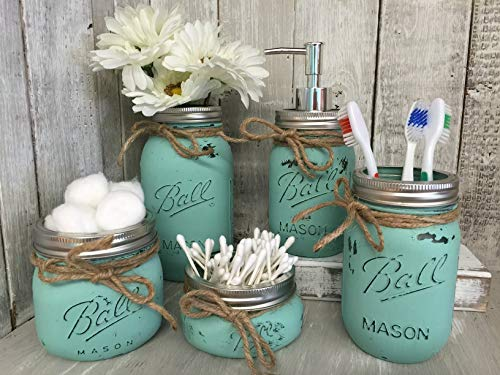 Distressed Farmhouse Painted Mason Jar Bathroom Set
