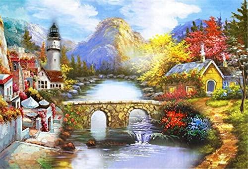 Lesign Paisaje Riverside Mágico Bricolaje 5d Pintura De Diamante Punto De Cruz Animal Diamante Bordado Mosaico Casa Decoración Decoración Pintura 30x45cm NoFramed